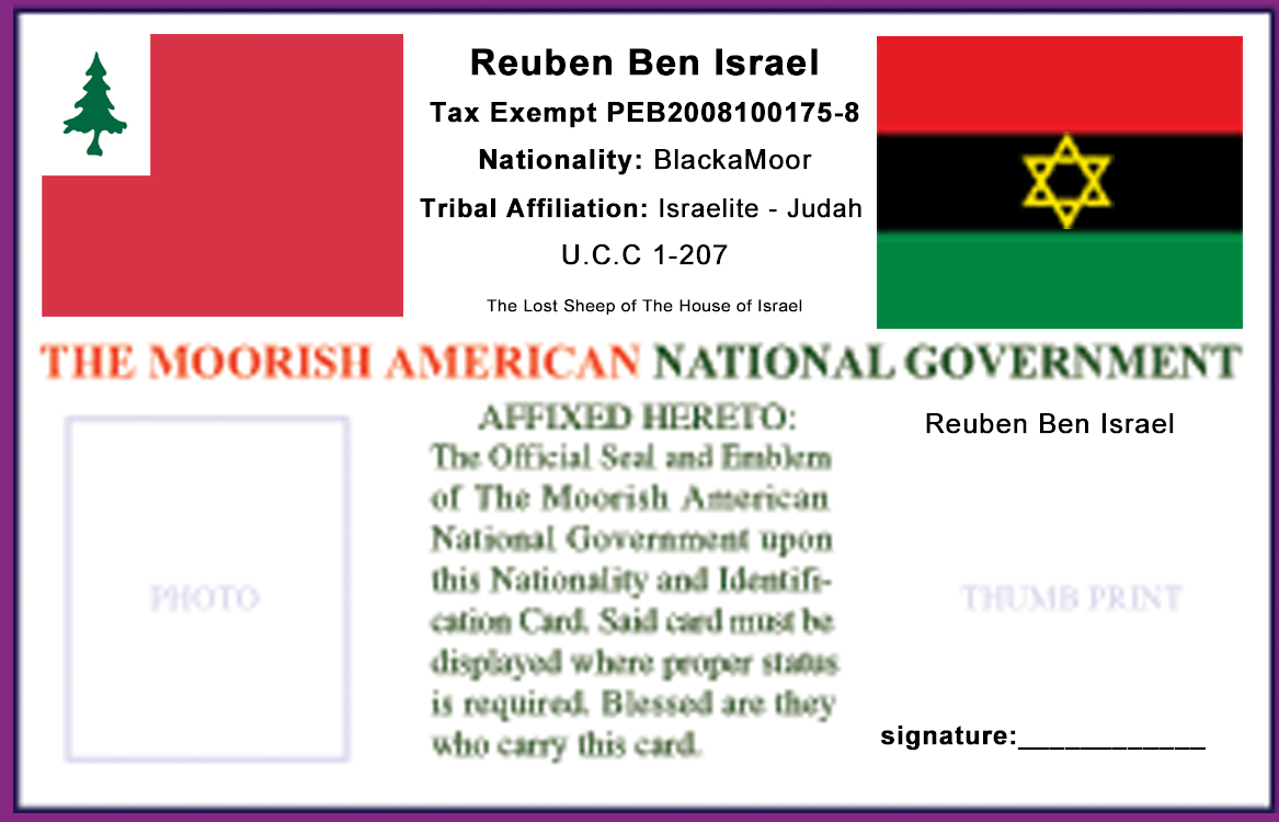 Follow us on YouTube Moorish Nationality Identification Card